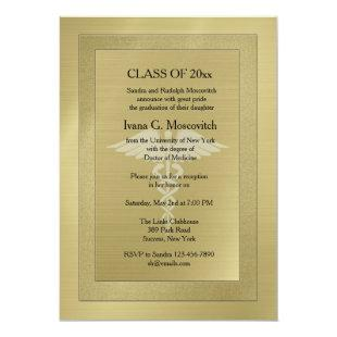 Caduceus Watermark Gold Medical Graduation Invite