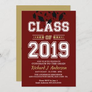 Caps Off Class of 2019 Maroon and Gold Grad Party Invitation