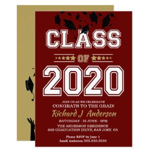 Caps Off Class of 2020 Maroon and Gold Grad Party Invitation