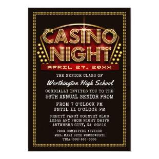 Casino Night Party Themed Prom Invitations