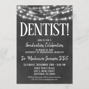 Chalkboard Dentist Graduation Party Invitation