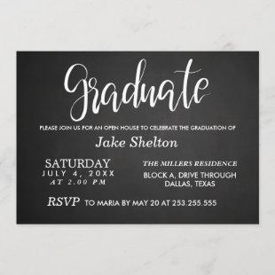 Chalkboard Open House Graduation | Handwritten Invitation