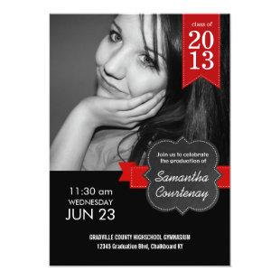 Chalkboard Red Ribbon Class of 2013 Big Photo Grad Invitation