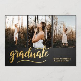 Chalkboard Rustic Graduate Script | Collage Photo Invitation