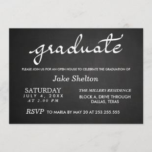 Chalkboard Typography Open House Graduation Invitation
