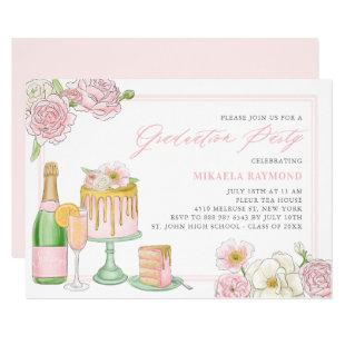 Champagne and Drip Cake Floral Graduation Party Invitation