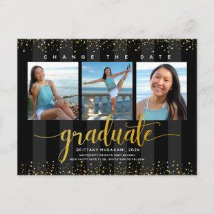 Change date graduation photo, modern gold script invitation postcard