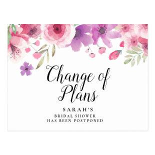 Change of Date Postponed Cancelled Event Floral Postcard