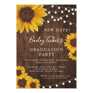 Change of Date Rustic Sunflower Graduation Party Invitation