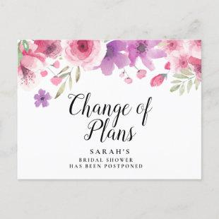 Change the Date Postponed Cancelled Event Floral Announcement Postcard