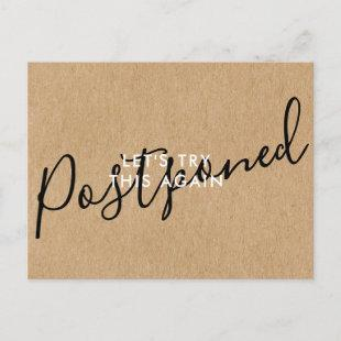 Change the Date Postponed Cancelled Event Rustic Announcement Postcard