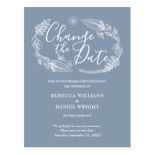 Change the Date Postponed Rustic Country Floral Postcard