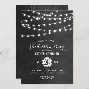 Charcoal String Lights Graduation Party Invitation
