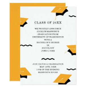 Cheerful Yellow Memphis Graduation Hat Border Invitation