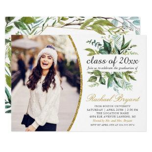 Chic Botanical Greenery Gold Photo Graduation Invitation