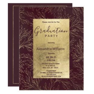Chic burgundy gold modern floral Graduation Party Invitation