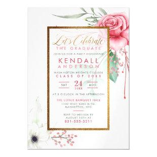Chic Cerise Painted Flowers Botanical Graduation Magnetic Invitation