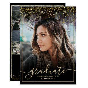 Chic gold confetti border script photo graduation invitation
