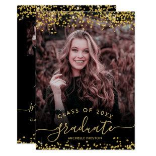 Chic gold glitter confetti 3 photo graduation invitation