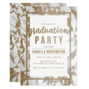 Chic Gold & Marble Typography Graduation Party Invitation