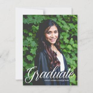 Chic Graduate White Typography Overlay 2 Photo Announcement