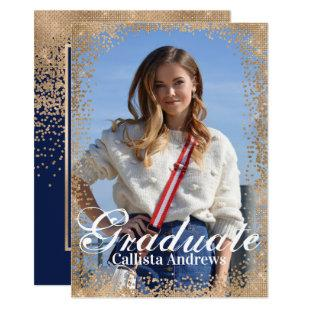 Chic Navy Gold Glitter Confetti Photo Graduation Invitation