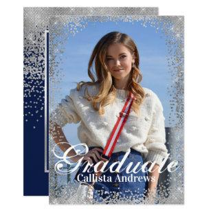 Chic Navy Silver Glitter Confetti Photo Graduation Invitation