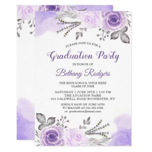 Chic Pastel Purple Rose Garden Graduation Party Invitation