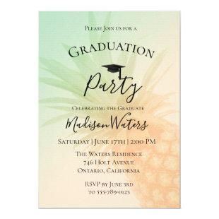 Chic Pineapple Graduation Party Invitation