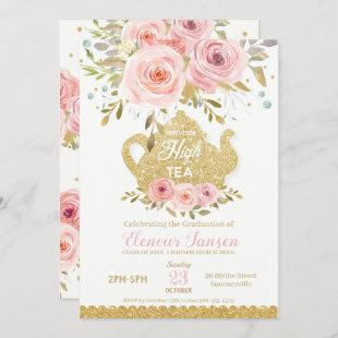 Chic Pink Blush Floral High Tea Graduation Party Invitation