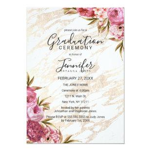 Chic Pink Floral Gold Marble Graduation Ceremony Invitation
