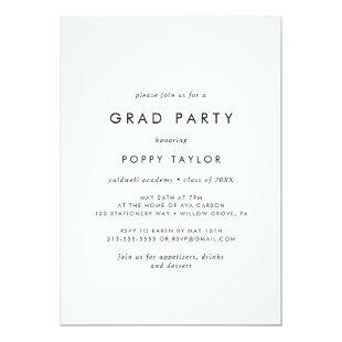 Chic Typography Grad Party Invitation