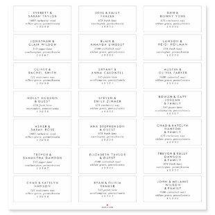 Chic Typography Wedding Guest Address Labels