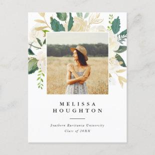 Chic Watercolor Flowers Photo Graduation Party Invitation Postcard