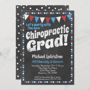 Chiropractic Graduation Party Invitation Red Blue