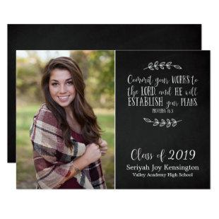 Christian Bible Verse Graduation Chalkboard Photo Invitation