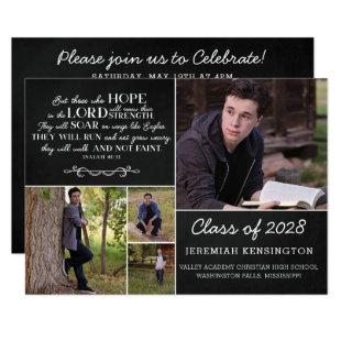Christian Bible Verse Graduation Multiple Photo Invitation