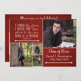 Christian Bible Verse Graduation Photo Collage Red