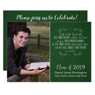 Christian Bible Verse Green Graduation Photo Invitation