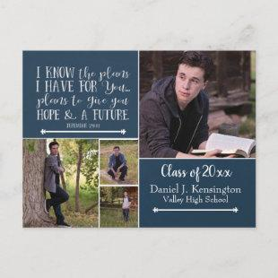 Christian Bible Verse Photo Graduation Collage Announcement Postcard
