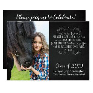 Christian Bible Verse Rustic Graduation Photo Invitation