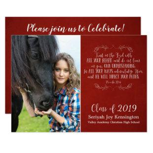 Christian Bible Verse Rustic Red Graduation Photo Invitation