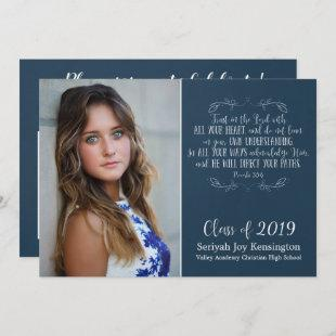 Christian Bible Verse Typography Graduation Photo Invitation