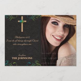 Christian Grad Graduation Photo I can do all thing Announcement