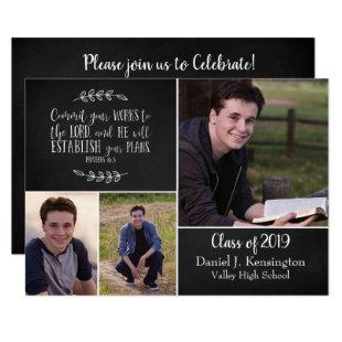 Christian Graduation Bible Verse 3 Photo Collage Invitation