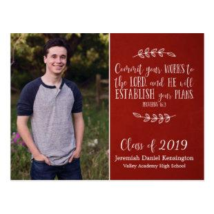 Christian Graduation Bible Verse Typography | Red Postcard