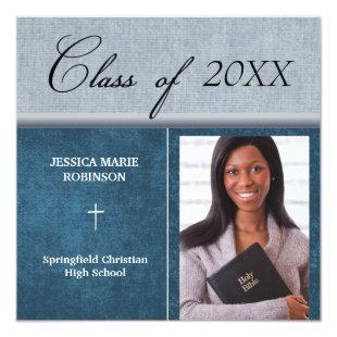 Christian Parochial School Photo Graduation Blue Invitation
