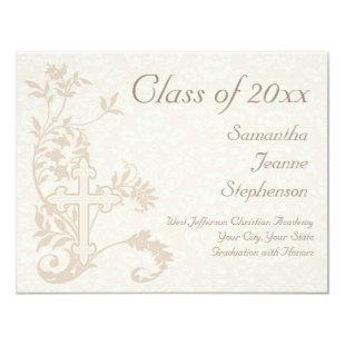 Christian Religious Graduation Announcement, Cream Invitation