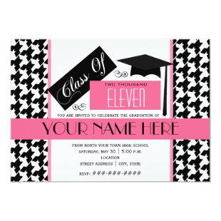 Class of 2011 Houndstooth & Pink Graduation Invitation