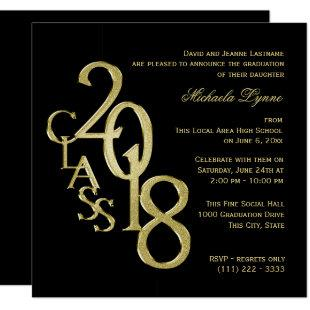 Class of 2018 Elegant Gold and Black Invitation